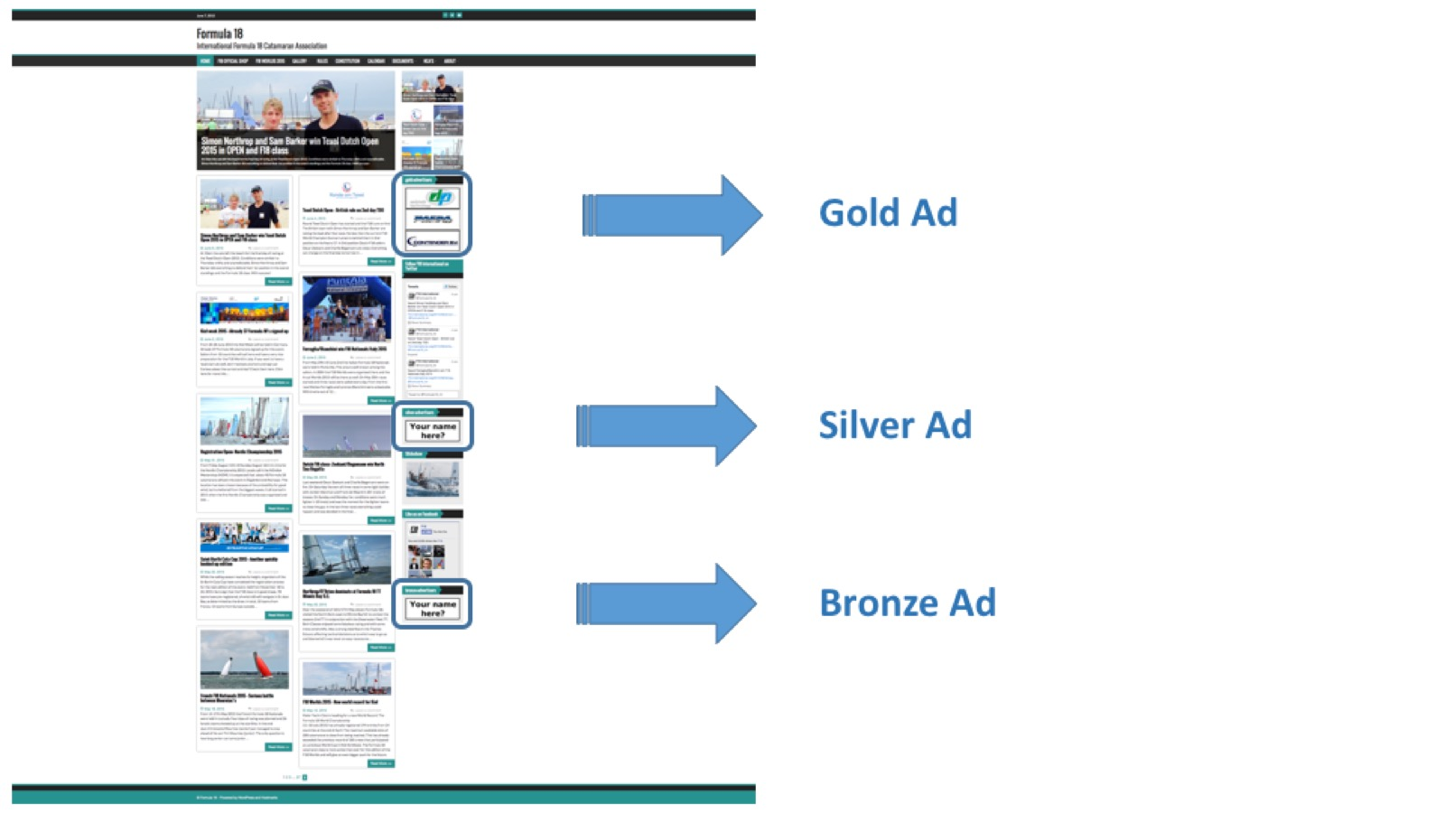 Advertising gold-silver-bronze